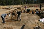 Cleaning the dinosaur trackways in the Münchehagen quarry