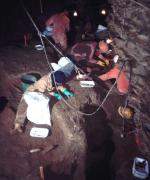 The excavation site in the cave